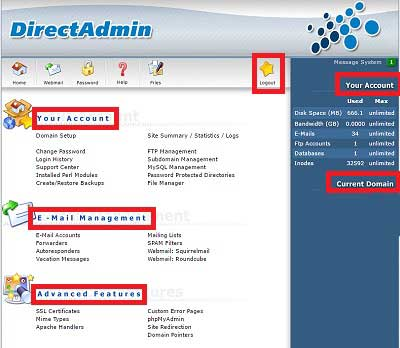 Different features of DirectAdmin